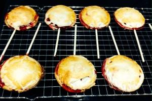 tiny cherry pies on sticks