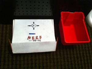 Ammo boxes.  My son prefers to store his rounds in the